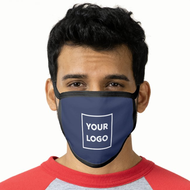Add Your Logo Business Branded Navy Blue Face Mask