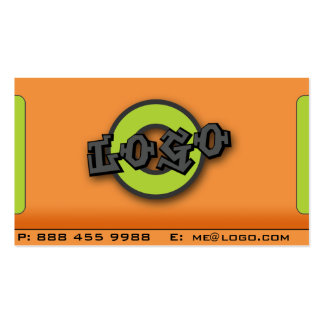 Add Your Logo Grey Orange and Green Double-Sided Standard Business Cards (Pack Of 100)