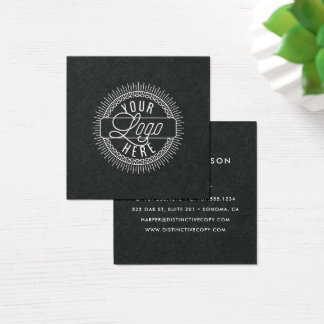 Add Your Logo | Modern Black and White Square Business Card