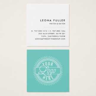 Add Your Logo | Modern Black, White and Aqua Square Business Card