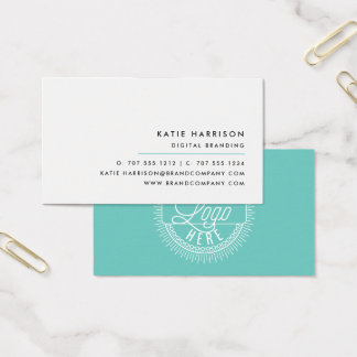Add Your Logo | Modern Black, White & Aqua Business Card