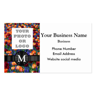 Add your logo or photo pretty tulip floral flower business card