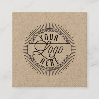 Add Your Logo   Rustic Kraft Square Business Card