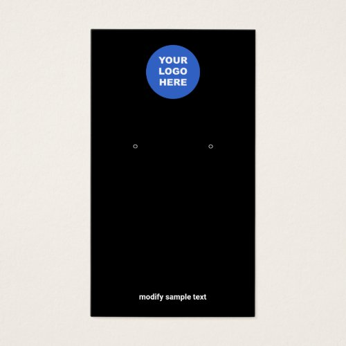 Add Your Logo Simple Black Earring Display Card