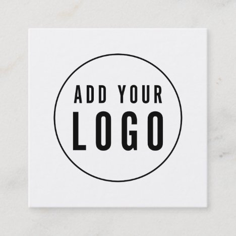 Add Your Logo Simple Minimalist Editable Color Square Business Card