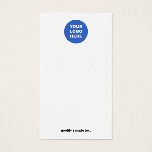 Add Your Logo Simple White Earring Display Card
