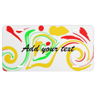Add your message to colorful swirly design license plate