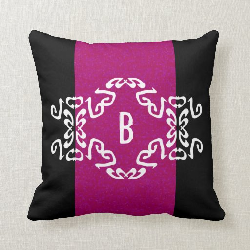 Add Your Monogram Purple & Black Diva Pillow