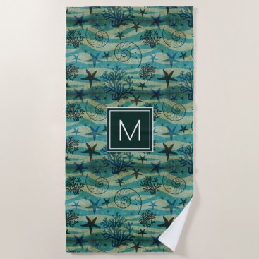 Beach Themed Add Your Monogram | Vintage Shells & Starfish Beach Towel