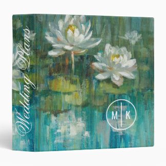 Add Your Monogram | Water Lily Pond 3 Ring Binder