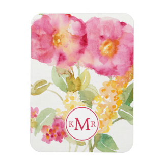 Add Your Monogram   White Daisy on Blue Magnet