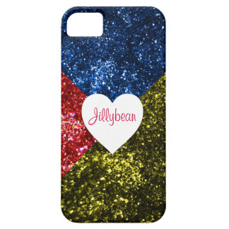 Add Your Name! 3 Color Glitter Heart iPhone SE/5/5s Case