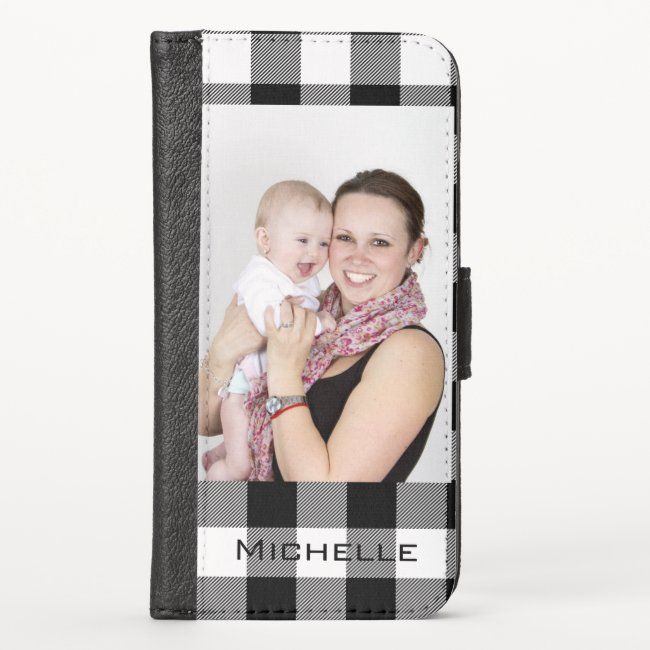 Add Your Name and Photo Simple Black Grey iPhone Wallet Case