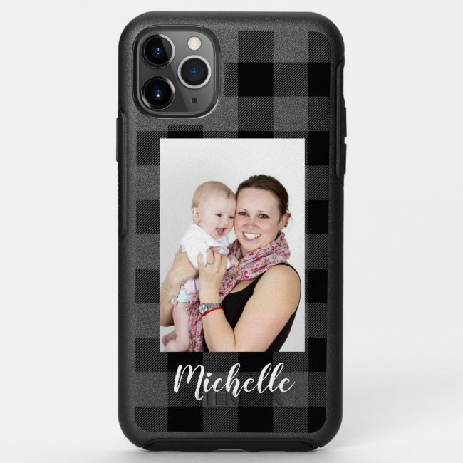Add Your Name and Photo Simple Black Grey OtterBox iPhone Case