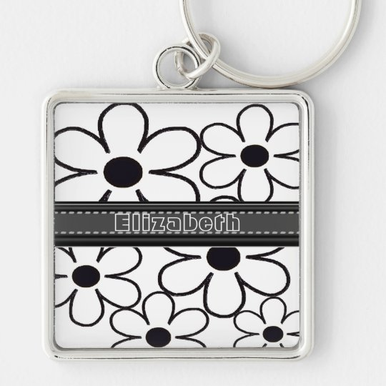 Add Your Name Black and White Flowers Keychain