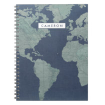 Add Your Name | Blue Linen World Map Notebook