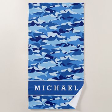 Beach Themed Add Your Name | Blue Shark Pattern Beach Towel