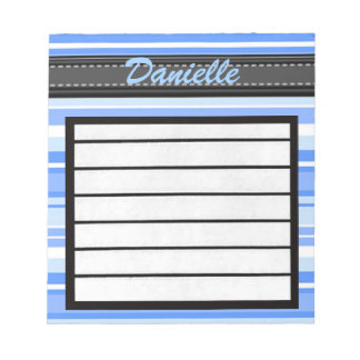 Add Your Name Blue Stripes Notepad