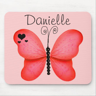 Add Your Name Blush Red Butterfly Mouse Pad