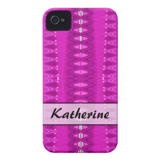 Add your name bright pink pattern iPhone 4 case