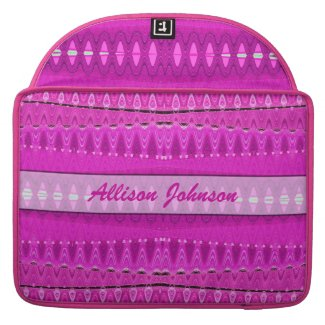 Add your name bright pink pattern sleeves for MacBook pro