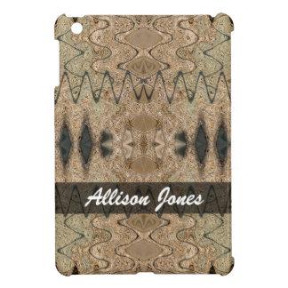 Add your name brown black pattern iPad mini case