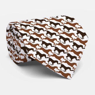 Add Your Name Brown Horses on Pink Patterned Neck Tie