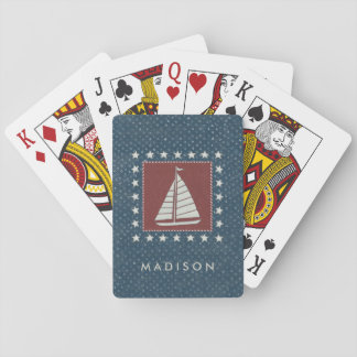 Add Your Name | Coastal Art | Sailboat on Red Playing Cards