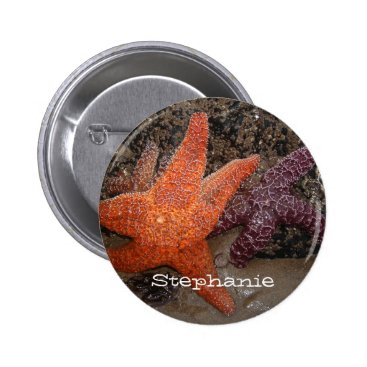 Beach Themed Add Your Name: Colorful Starfish/Sea Star Photo 1 Button