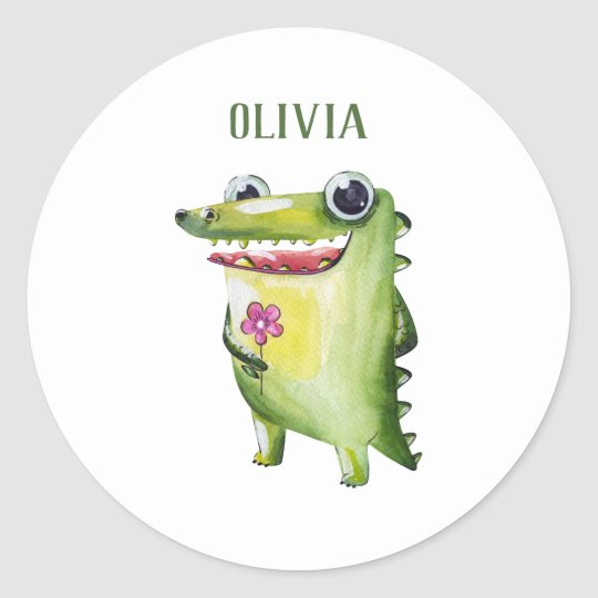 add your name cute crocodile template name sticker zazzle com