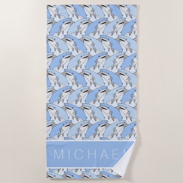 Beach Themed Add Your Name | Cute Shark Pattern Beach Towel