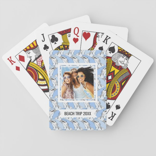 Add Your Name | Cute Shark Pattern Playing Cards