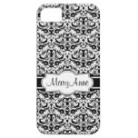 Add Your Name Elegant Black and White Damask iPhone 5 Covers