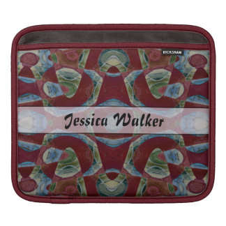 Add your name fancy maroon blue ornate pattern sleeves for iPads