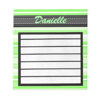Add Your Name Green Stripes Notepad