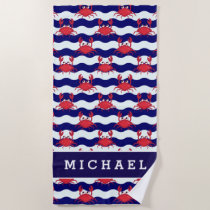 Add Your Name | Happy Crabs Pattern Beach Towel
