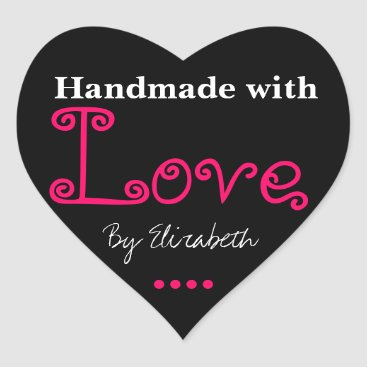 Professional Business Add Your Name Made With Love Black Heart Stickers