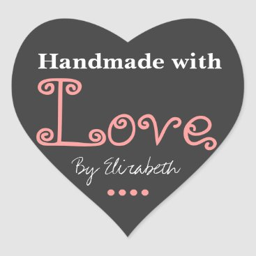 Professional Business Add Your Name Made With Love Gray and Pink Sticker