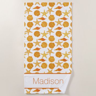 Beach Themed Add Your Name | Orange Beach Shell Pattern Beach Towel