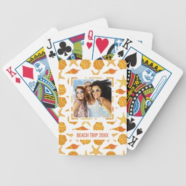 Beach Themed Add Your Name | Orange Beach Shell Pattern Bicycle Playing Cards