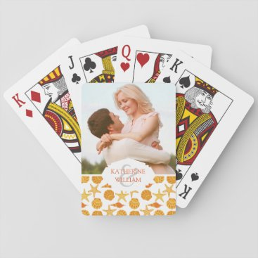 Beach Themed Add Your Name | Orange Beach Shell Pattern Playing Cards
