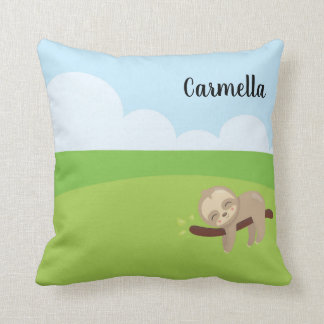 Add Your Name & Personalize the Sleepy Sloth Throw Pillow