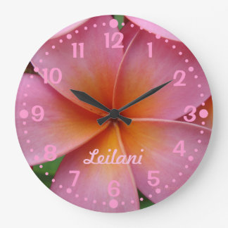 Add Your Name Pink Plumeria Flower Clock w/Minutes