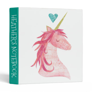 Add Your Name | Pink Unicorn Magic with Heart 3 Ring Binder