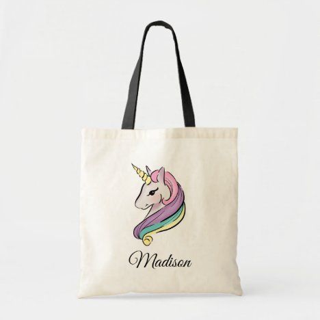 Add Your Name | Pretty Pastel Unicorn Tote Bag