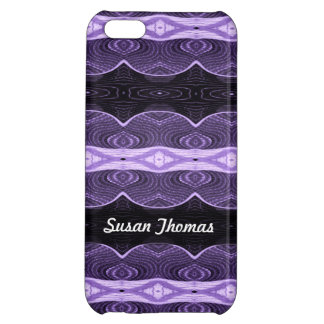 Add Your Name Purple and Black Abstract Case For iPhone 5C