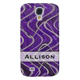Add Your Name Purple and White Pern Samsung S4 Case