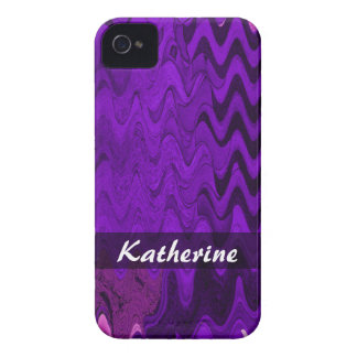 Add your Name purple black wave iPhone 4 Case-Mate Case
