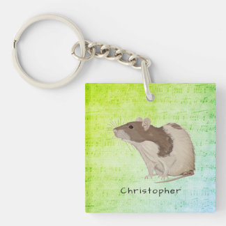 Add Your Name Rat Design Keychain