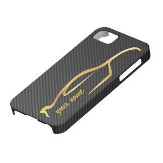 """""""add your name"""" Skyline Gold Silhouette Logo iPhone 5 Case"""